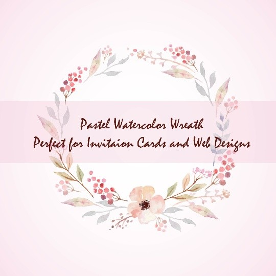 6 Pastel Watercolor Floral Elements, Pastel wreath, floral bouquets, floral text divider