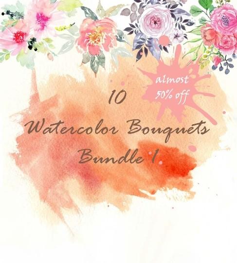 10 watercolor bouquets Bundle1, watercolor flowers, watercolor invitation elements