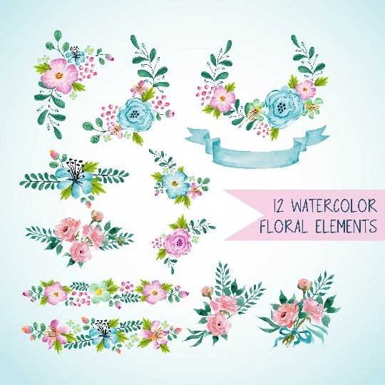 12 light blue and light pink watercolor floral elements, Blue watercolor wreath and bouquets