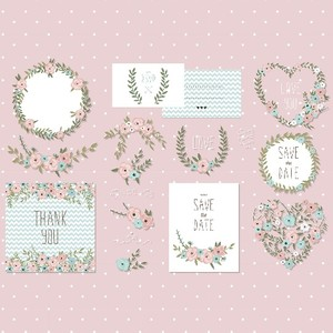 Vintage floral elements, floral invitation elements, pastel floral elements, floral clip art
