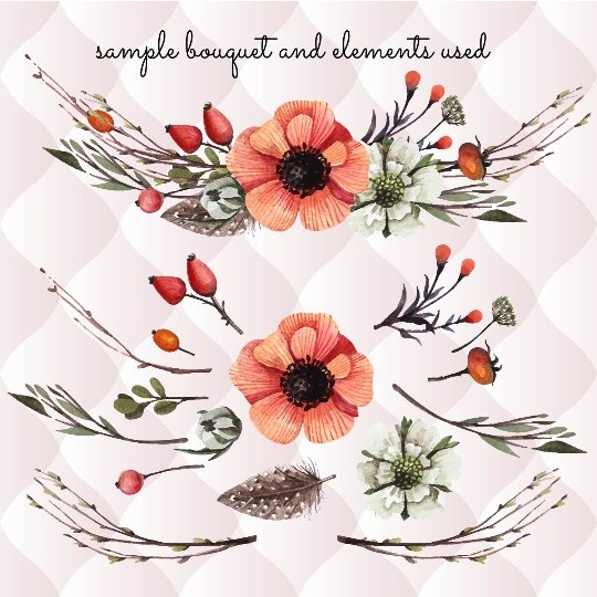 27 watercolor floral elements, watercolor invitation elements, diy watercolor bouquets