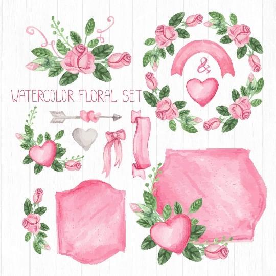 Pink watercolor floral elements, pink roses, vintage floral elements