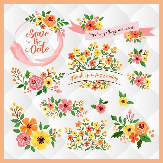 Fall watercolor floral elements, Pink orange yellow flowers, fall floral wreath