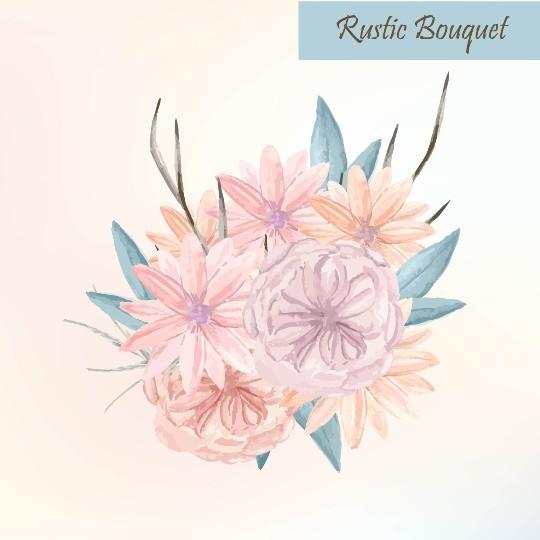 Vector Pastel watercolor flower