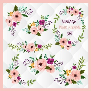 Vintage pink floral elements, Watercolor flower designs, watercolor floral set