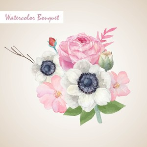 Vintage pink and white watercolor Floral Bouquet, Watercolor floral elements