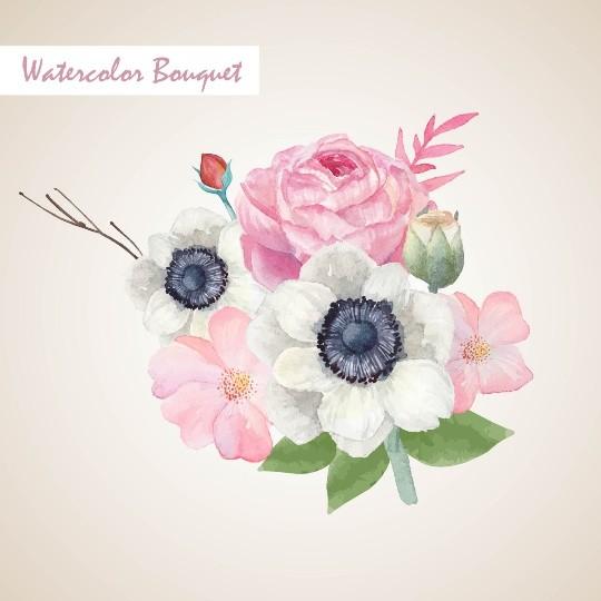 Vintage pink and white watercolor Floral Bouquet, Watercolor floral elements