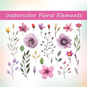 26 Watercolor floral elements