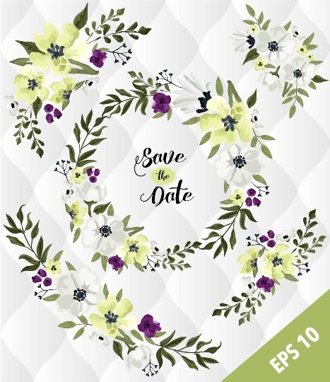 apple green floral elements, Watercolor flower designs, Spring flowers Clip art