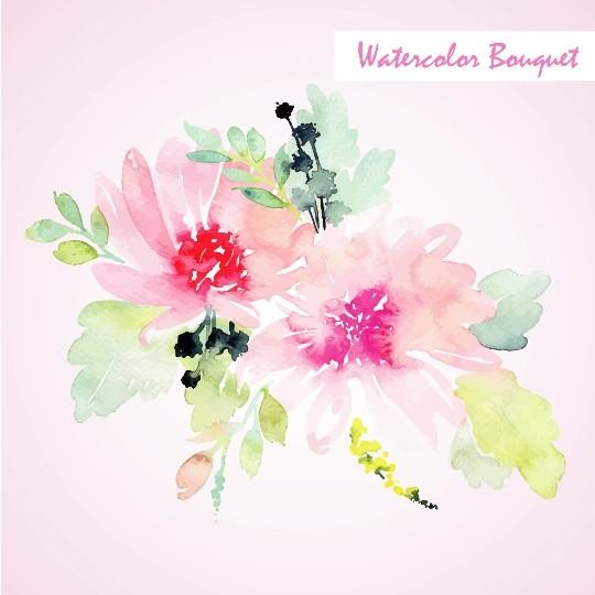 Pastel watercolor Floral Bouquet, Watercolor flowers, Watercolor floral elements