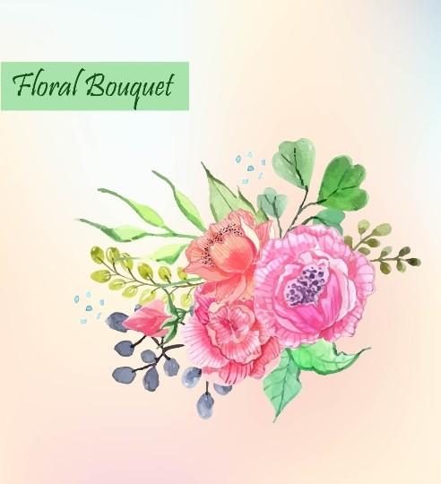 Spring Floral Bouquet, Vector Flower bouquet, Colorful floral bouquet, Vector flower clip art