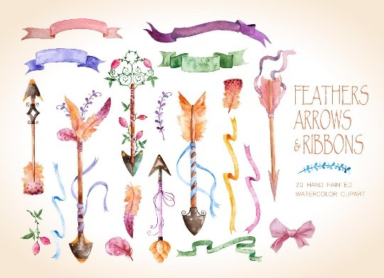 Watercolor arrows, feathers and ribbons, rustic watercolor elements