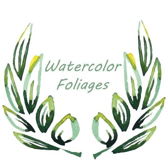 18 watercolor foliage, Watercolor leaves, leaves design elements, Watercolor elements
