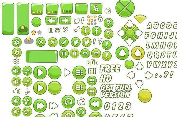 GAMESALAD CARTOON MENU PACK (green Buttons)