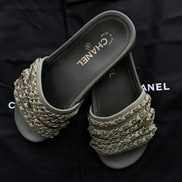 Chanel Tropiconic Slides - Olive Green, Size 37
