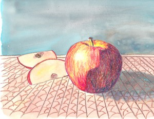 Apple Still Life with Perspective Project for 9-12 year olds