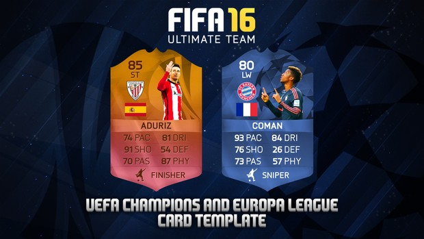 FUT 16 - HD CHAMPIONS AND EUROPA LEAGUE CARD TEMPLATE