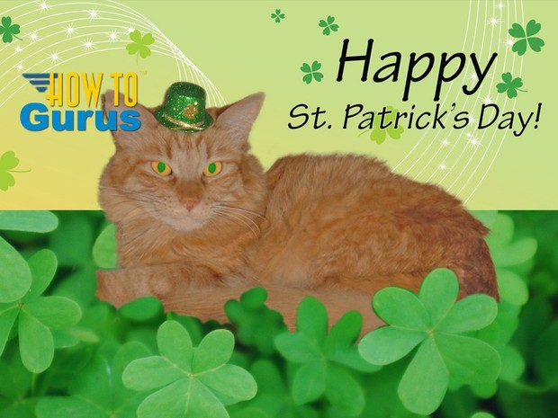 How to Put a Cat in a Custom St Patrick's Day Card in Photoshop Elements 11 12 13 14 PSE Tutorial