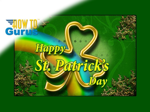 How To Make a Gold Design St Patrick's Day Card in Photoshop Elements 15 14 13 12 11 Tutorial