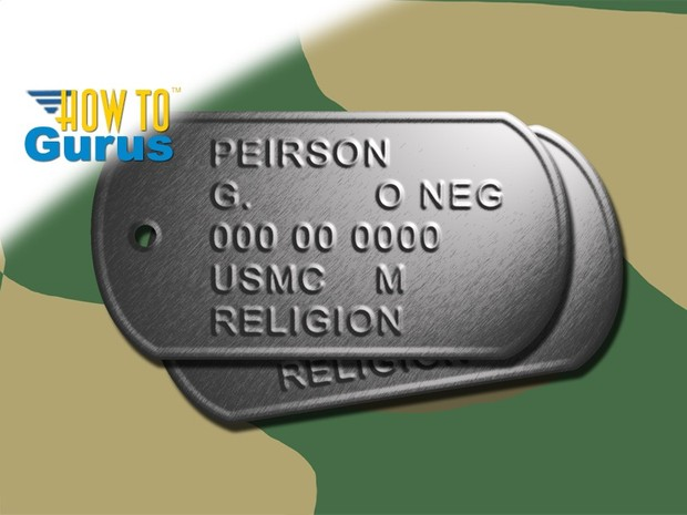 How to Dog Tag Text Effect using Bump Map and Lighting Effects in Photoshop a CS5 CS6 CC Tutorial