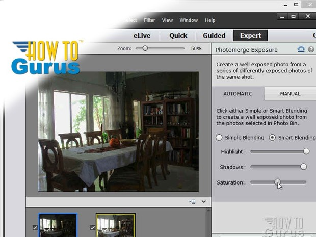 How to use Adobe Photoshop Elements 13 HDR images using Photomerge Exposure