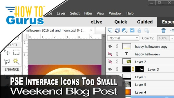 Weekend Video Blog Photoshop Elements Interface Icons Too Small and Free Book Chapter Download