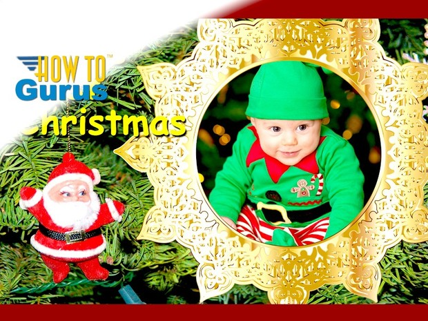How To Make a Baby's First Christmas Card in Photoshop Elements 15 14 13 12 Tutorial
