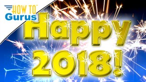 Photoshop Elements Happy New Years 2018! How To with Gold Rimmed Text and Sparklers 2018 15 Tutorial