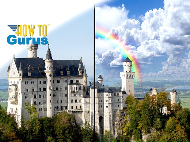 How To Improve Sky Background and Custom Rainbow in Photoshop Elements 15 14 13 12 11 Tutorial