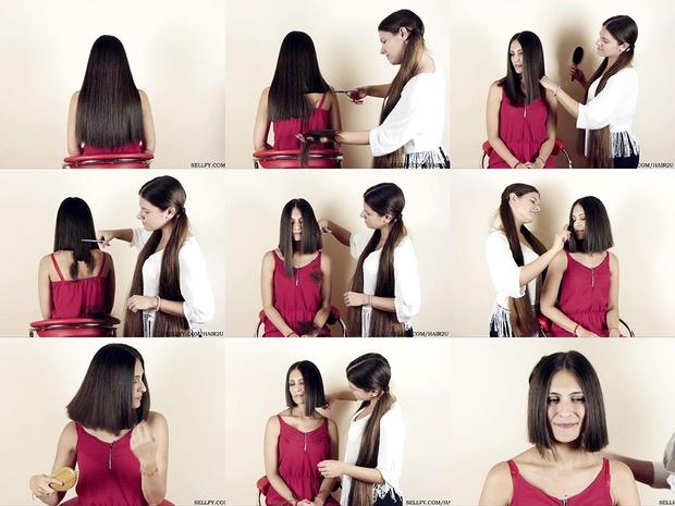 Nikolina Long to Wedge Bob Haircut