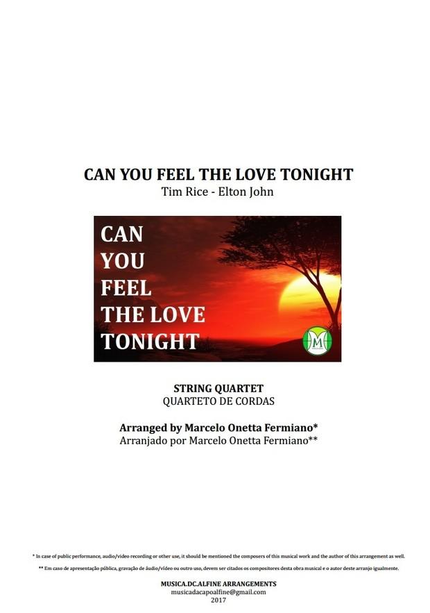 Can You Feel The Love Tonight - Elton John - Quarteto de Cordas - Partitura Completa Grade e Partes