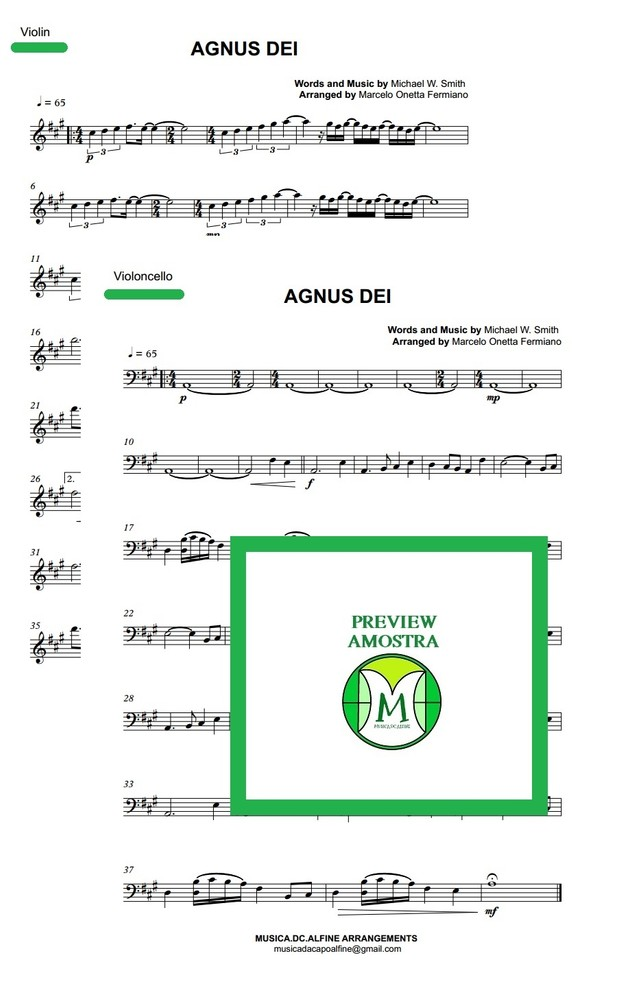 Agnus Dei - Michael W. Smith - Violin and Violoncello - Score and parts