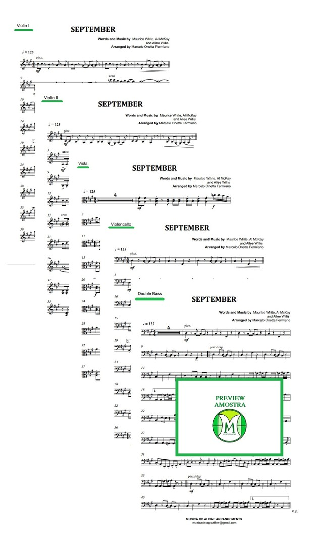 September - Earth, Wind & Fire-  String Orchestra or String Quintet - Score and parts