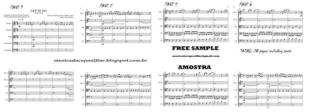 Let It Go -(Frozen song) String Quintet - Score and parts Download  Sheet music