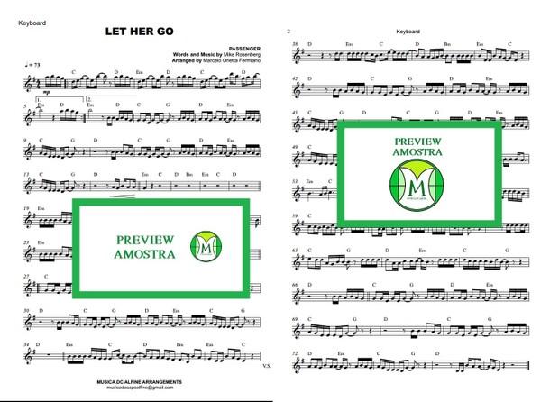 Let Her Go - Passenger - Keyboard or Violin Sheet Music
