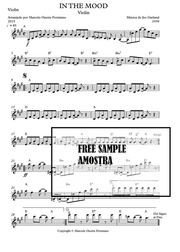 IN THE MOOD - SOLO VIOLIN SHEET MUSIC