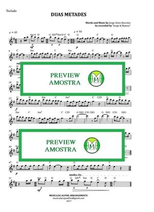 Duas Metades | Jorge e Mateus | Teclado ou Violino | Partitura