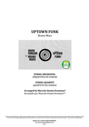 Uptown Funk | Bruno Mars | String Orchestra or String Quartet | Score and Parts