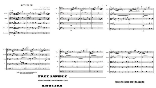 Rather Be - C. Bandit - String Quintet /Sheet Music/ Download - Score and parts Sheet Music