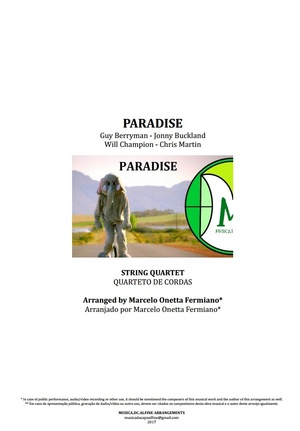 Paradise | Coldplay | String Quartet | Score and Parts | Download