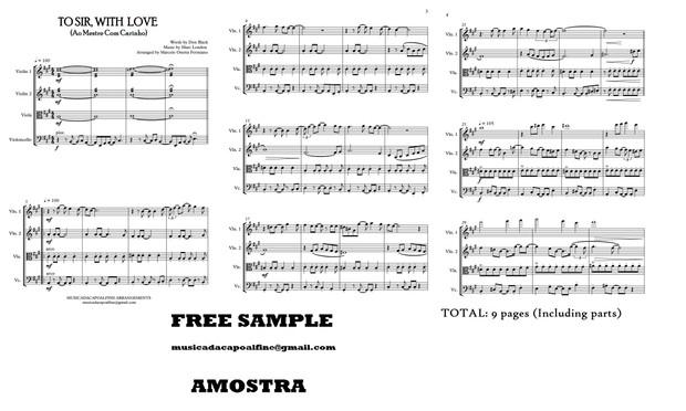 TO SIR, WITH LOVE - Ao Mestre com Carinho -  String Quartet - Sheet Music Download