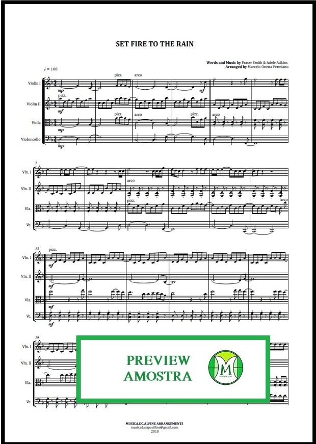 Set Fire To The Rain   Adele   Quarteto de Cordas   Partitura Completa Download