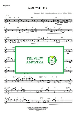 Stay With Me | Sam Smith | Keyboard or Violin | With Chords | Sheet Music