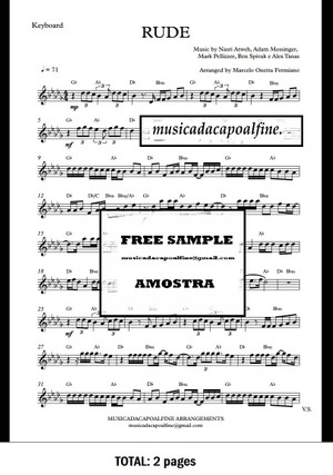 Db Major - RUDE - MAGIC! - Keyboard - Sheet Music pdf