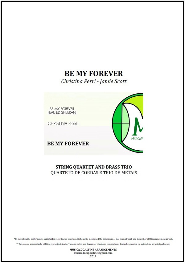 Be My Forever | Christina Perri | String Quartet and Brass Trio | Score and Parts | Download