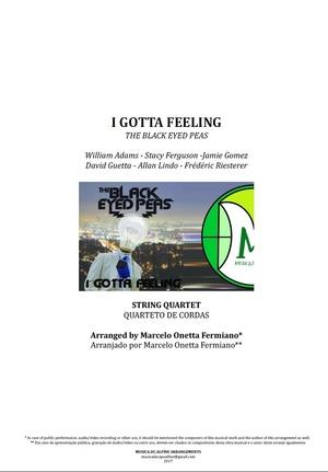 I Gotta Feeling - The Black Eyed Peas - String Quartet - Score and Parts