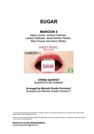 Db (key) - Sugar - Maroon 5 - String Quartet Sheet Music - Score and parts