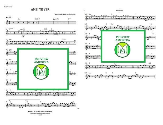 Amei Te Ver - Tiago Iorc - Teclado ou Violino - Partitura