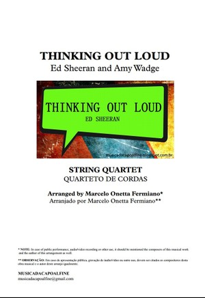 Thinking Out Loud - Ed Sheeran- String Quartet - Score and parts sheet music download