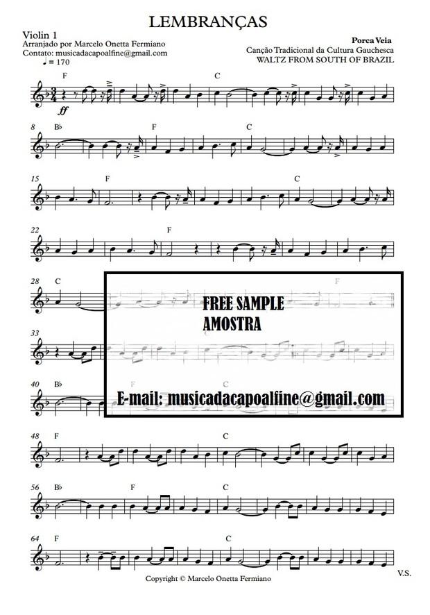 Lembranças - Porca Veia - Sheet Music for Violin - Waltz From South of Brazil